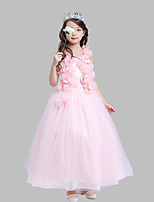 Ball Gown Ankle-length Flower Girl Dress - Cotton / Satin / Tulle Sleeveless Square with Flower(s)