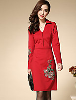 Boutique S Women's Plus Size / Casual/Daily Chinoiserie Shift DressEmbroidered Shirt Collar Knee-length Long Sleeve Fall