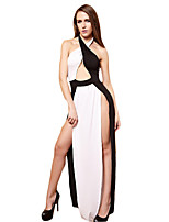Women's Casual/Daily / Party/Cocktail Simple Sheath Dress,Color Block Halter Maxi Sleeveless White Polyester Summer