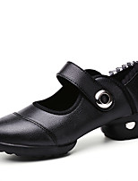 Women's Dance Shoes Leather / Fabric Leather / Fabric Dance Sneakers Split Sole Chunky Heel Practice More Colors