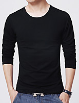 Men's Solid Casual / Work / Sport T-ShirtCotton / Acrylic / Polyester Long Sleeve-Black / White / Gray 916396