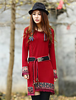 Our Story Women's Going out Chinoiserie Sheath DressPrint Round Neck Above Knee Long Sleeve Red Cotton
