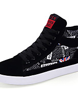 Men's Bootie Suede Casual Flat Heel Lace-up Black / Black and Red / Black and White Walking EU39-43