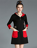 Plus Size Winter Women Fashion Vintage Hooded Color Block Bead Packet 3/4 Sleeve Dress