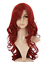 COS Anime Europe And The United States Sell Like Hot Cakes Wine Red Wig Female Fluffy Inclined Curly Hair