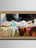 Sleeping Beauty Oil Painting Modern Abstract   Hand Painted Natural Linen With Stretched Frame