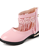 Girl's Oxfords Spring / Fall Pointed Toe PU Dress Flat Heel Others / Tassel Black / Pink / Red Others
