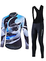 Sports Cycling Jersey with Bib Tights Men's Long Sleeve BikeBreathable / 3D Pad / Back Pocket / Sweat-wicking / Comfortable / Lightweight