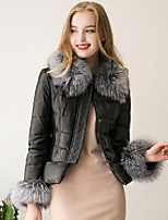 Women's Solid Black Padded CoatStreet chic Hooded Long Sleeve Fur Winter Coat