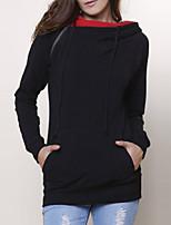 Women's Casual/Daily Vintage Regular HoodiesSolid Black Hooded Long Sleeve Polyester All Seasons