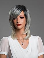 Elegant  Medium Straight Capless Human Hair Wig 15 Inches