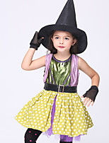 Anime Cosplay Costumes Cosplay Suits Polka Dot Yellow Sleeveless Skirt / Hat / Gloves / Corset