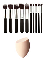 10 Makeup Brushes Set Synthetic Hair Professional And Makeup Sponge(Get Water Can Become Bigger)