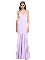 Lanting Bride®Floor-length Satin Chiffon Bridesmaid Dress - Elegant Fit & Flare Spaghetti Straps with Draping
