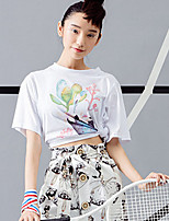 ROOM404  Women's Casual/Daily Active Summer T-shirtFloral Round Neck Length Sleeve Cotton Opaque