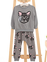 Girl's Casual/Daily Leopard Clothing SetCotton Spring / Fall Gray
