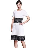 High Quality Women's Vintage Color Block Plus Size / Sheath Dress , Round Neck Knee-length Cotton / Polyester