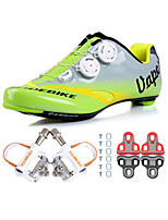 Cycling Shoes Unisex Outdoor / Road Bike 04 Sneakers Damping / Cushioning Green / Gray-sidebike And White Lock Pedals