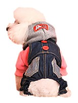 Cat / Dog Hoodie / Clothes/Jumpsuit Red / Blue Dog Clothes Winter / Spring/Fall Jeans Holiday / Fashion