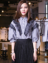 I'HAPPY Women's Going out Vintage Summer ShirtCheck Shirt Collar  Sleeve Black Cotton / Polyester Opaque