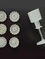 New Version 3D Flower Pattem Moon Cake Mold 50g 1 Barrel 6 Stamps DIY Tool