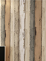 Retro Non-woven Living Roon Office Bedroon Wallpaper Wood Vertical Stripes Murals of Wall Paper Roll