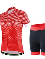 Women's Summer Cycling Red Polka Dots Short Shirt Bicycle Breathable Quick Dry Jersey Bike 3D Cushion Pad Shorts Suits