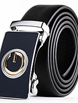 Mens Suits Dress Black Leather Waist Belt Strap Blue Gold Automatic Belt Buckle