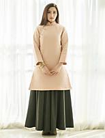 Courte Robe Femme Décontracté / Quotidien Vintage,Couleur Pleine Mao Mini Manches Longues Rose Lin Automne / Hiver Taille NormaleNon