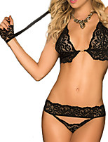 Women Lace Lingerie / Ultra Sexy / Suits Nightwear,Sexy / LaceThin Lace Black Women's