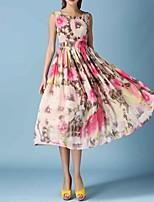 Feminino Solto Vestido,Casual Boho Floral Decote Redondo Médio Sem Manga Rosa Seda / Poliéster Verão Cintura Média Sem Elasticidade Média