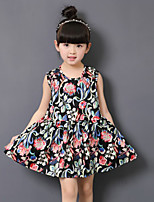Girl's Casual/Daily Solid DressCotton Summer Black / White