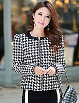 Women's Houndstooth Black / Gray Down CoatSimple Round Neck Long Sleeve