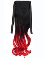 Ombre Synthetic Long Lady Wowen Curly Wavy Clip in Ponytail Pony Tail Fake Hair Extension body wave Black TRded