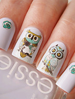Nail Art Water Decals Transfer Stickers Cute Animal Owl Pattern Sticker BOP124