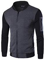 Men's Long Sleeve Casual / Work / Formal / Sport / Plus Size JacketCotton / Nylon Solid / Color Block Black / Gray