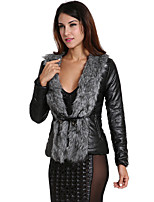 Women's Plus Size / Going out Simple Fur Coat Solid / Patchwork V Neck Long Sleeve  PU