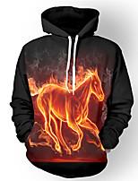 Inspired by 3D Flame HorseLong Sleeve Hoodie Cosplay Hoodies Print Long Sleeve Coat Clothing Round Halloween