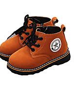 Черный / Коричневый / Красный-Для девочек-Для прогулок / На каждый день-Дерматин-На плоской подошве-Удобная обувь / Модная обувь-Ботинки