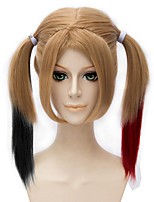 Synthetic Women's Harley Quinn Long Straight Beige Blonde Black and Red Highlight Halloween Cosplay Costume Wig