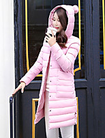 Women's Solid Pink / Black / Gray Padded CoatSimple Hooded Long Sleeve