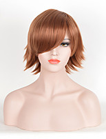 Brown Color Curly Women Fashion European and American Cosplay Synthetic Wigs