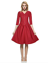 Women's Casual/Daily Simple Sheath DressAbove Knee  Length Sleeve Blue / Red / Black / Yellow Cotton FallMid