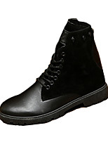 Men's Flats Winter Comfort / Round Toe PU Casual Flat Heel Lace-up Black / Brown Others