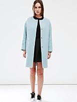 с + впечатлить женщин происходит из простой coatsolid вокруг шеи длинный рукав зима синий шерстяной среды
