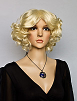 Black Color Middle Curly Wigs Capless Synthetic Wigs For Afro Women