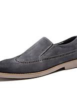 Herren-Loafers & Slip-Ons-Büro / Lässig-Leder / Wildleder-Flacher Absatz-Komfort-Schwarz / Grau / Khaki