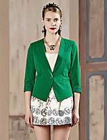 I'HAPPY Women's Work Simple Spring / Fall BlazerSolid Peaked Lapel  Sleeve White / Green Rayon / Polyester