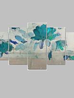 Ручная роспись Цветочные мотивы/ботанический Картины маслом,Modern / Пастораль 5 панелей Холст Печать Искусство For Украшение дома