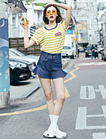 LIANGSANSHI Women's Casual/Daily Simple / Street chic Summer T-shirt,Striped Round Neck Short Sleeve Yellow Others Thin